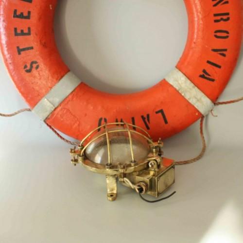 Bulkhead Round Cage Brass  -  Passageway light