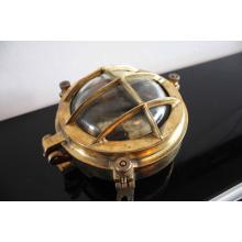 Marine Bar Style Bulkhead Light in Brass - Clear Glass