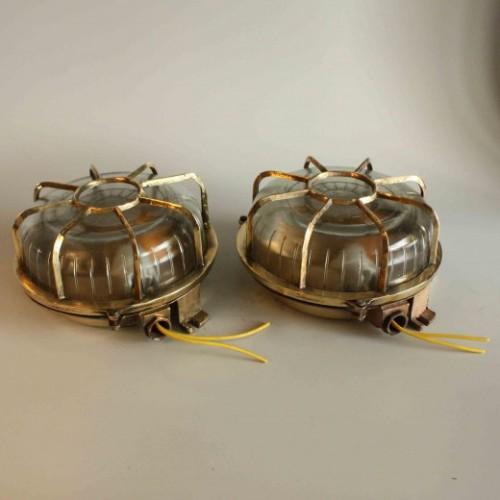 Pair Of Large Round Cast - Brass Light