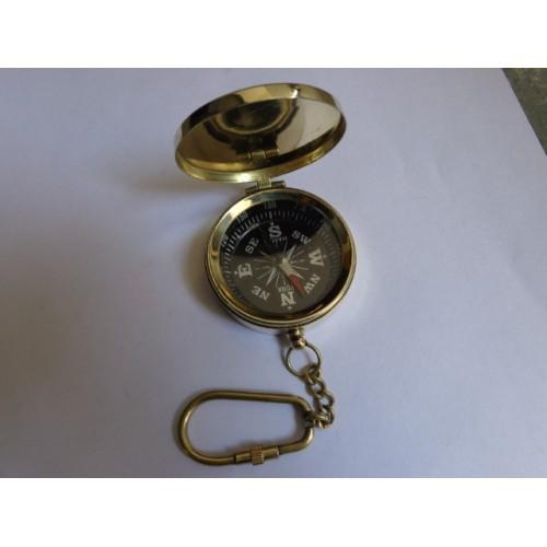 Brass Lid Flap Compass Key Chain