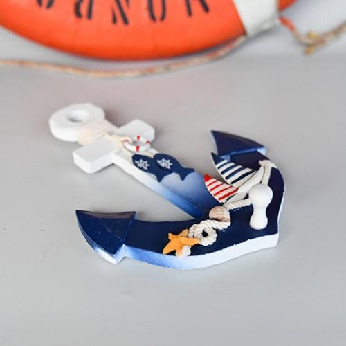 Marin inredning ankare, med båt och fisk - inredningsbutik