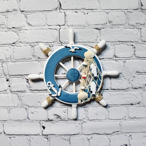1st litet skeppshjul för väggdekoration trä - marint