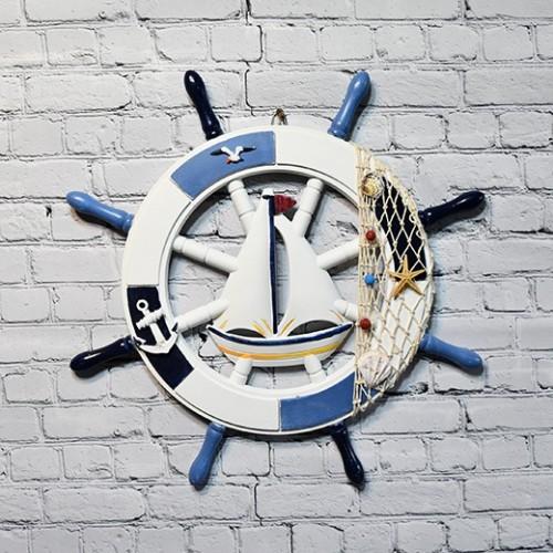 WINOMO  Wheel Decor Wooden Steering Wheel Home Wall Decor