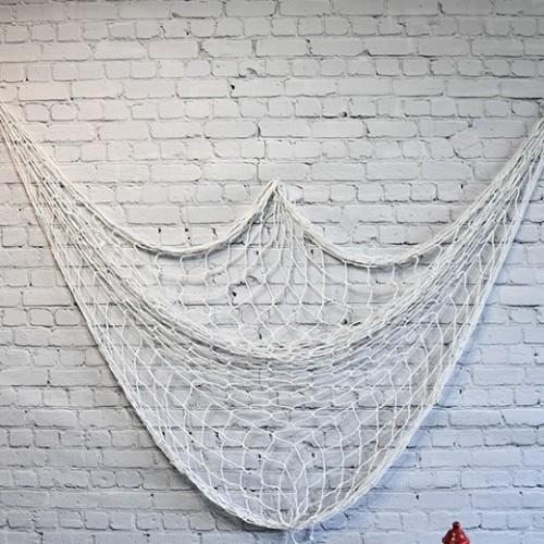 Vit fisknät för väggdekoration - rea fisknät (1x2m)