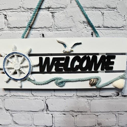 Välkommenskylt i trä med Welcome - modern marin inredning
