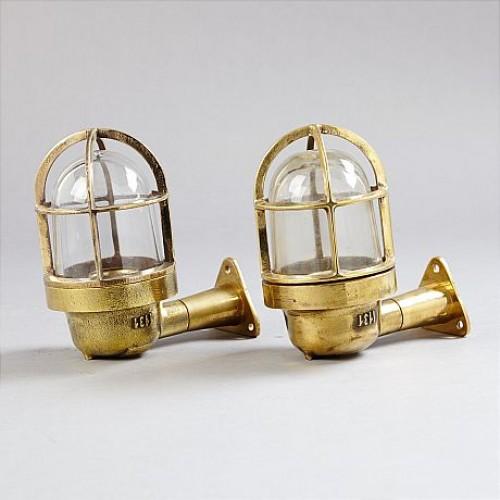 2  Salvaged Cast brass Bulkhead Wall Lights - Nautical lights