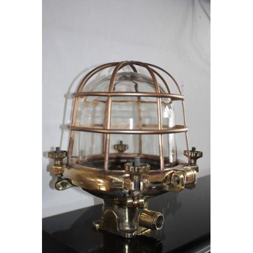 Vintage Antique Marine Brass Tower Lamp