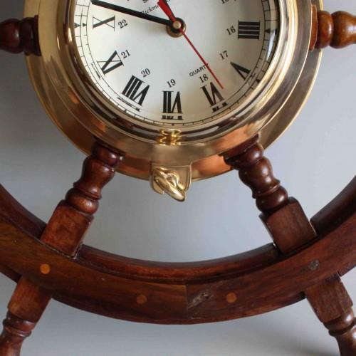 ... Vintage Ships Wheel Wall Clock  Wooden Brass ...