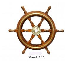 Båtratt i trä och mässing, 46 cm Dia - inredning marin stil