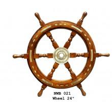 Båtratt i trä och mässing, 60 cm Dia - inredning marin stil
