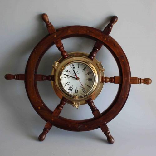 Vintage Ships Wheel Wall Clock  Wooden Brass