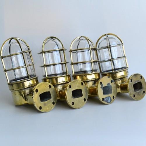 4 Original vintage ships 90 degree folding Bulkhead wall  lights - Ship lights