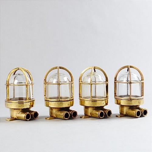 Marin inspirerade lampor, 4 st, i mässing - Wiska C1950s