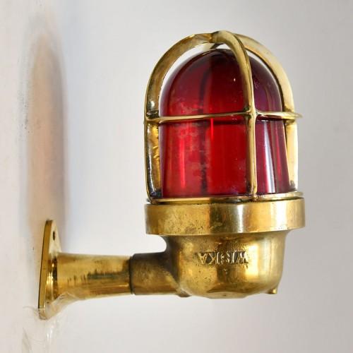 Vägglampa marin Skepps Signallampa Röd - Antik C1950s