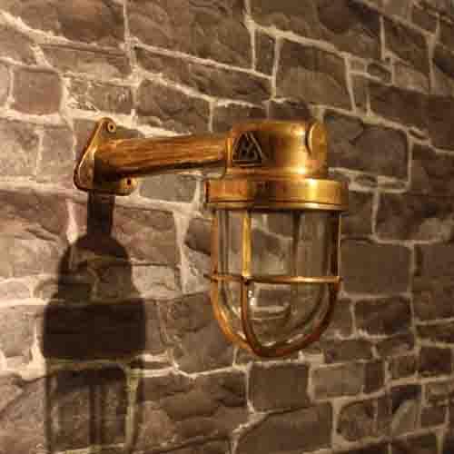Gallerlampa vägg i mässing - skeppsbelysning