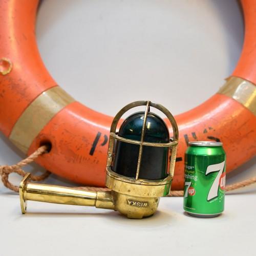 Brass Light 90 Deg (Long pipe) green glass