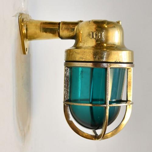 Gallerlampa mässing lampa i grön glas  - billiga vägglampor