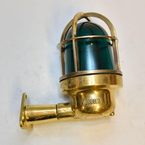 Cast Brass Wall Light With Arm - Green Glass