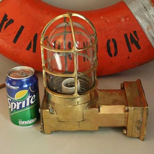 Salvaged Brass Right Angled Passageway light - Wall light