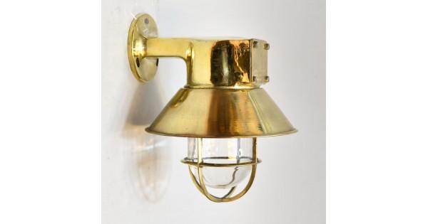 Vägglampa med mässing kupa utomhusbelysning marin stil