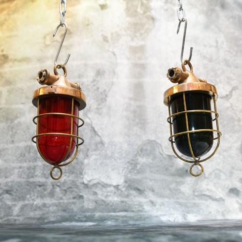 2st Hanging light brass red green