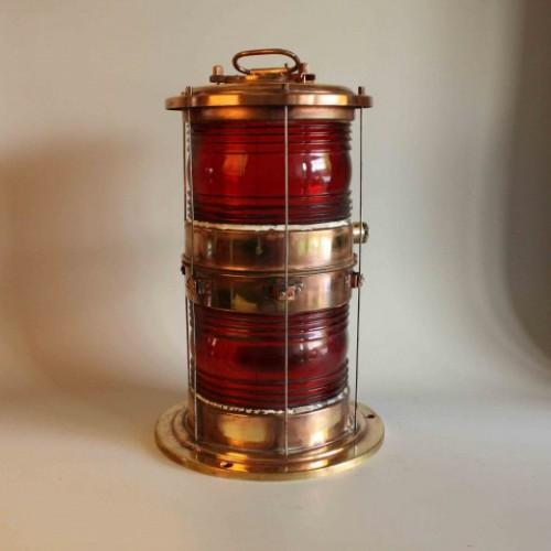 Navigationsljus i koppar från 1900- talet - Röd glas