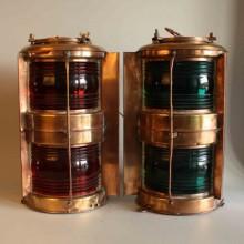 Lanternor till salu / marin masthead lights,1 par i koppar - Röd och grön signaler