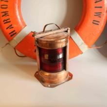 Armatur koppar i röd glass - bät signaler belysning